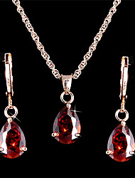 Elegant Luxury Design New Fashion Gold Plated Zircon Drop Jewelry Sets Women Gift