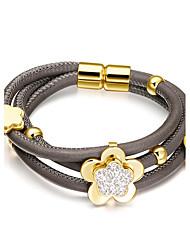 Women's Triple Layer Full Stone Flowers Cowskin Leather Bracelets