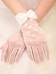 Wrist Length Fingertips Glove Net Bridal Gloves with Sequins / Beading / Bow
