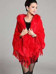 Women's Casual/Daily Simple Cloak/Capes,Solid Hooded Long Sleeve Winter Blue / Red / Black Faux Fur Thick