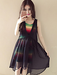 Women's Going out / Casual Simple / Street chic Loose / Sheath Dress,Striped Round Neck Sleeveless Black Polyester
