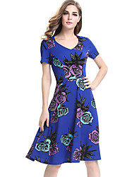 Women's Plus Size / Casual/Daily / Work Street chic Sheath DressFloral Round Neck Knee-length Short Sleeve