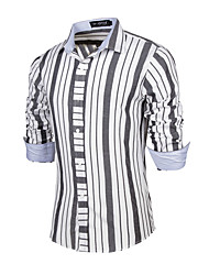 Men's Striped Casual / Work Shirt,Cotton Long Sleeve White