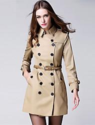 BURDULLY® Feminino Colarinho de Camisa Manga Comprida Trench Coat Cáqui-9288