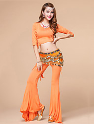 Belly Dance Outfits Women's Training Modal Ruched 2 Pcs Black / Fuchsia / Light Green / Orange / Dark Blue / Red No Belt
