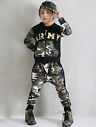Girl's Cotton Spring/Autumn Fashion Camouflage Hip-hop Costume Hoodie Coat And Hallen Pants Sport Suit Two-piece Set