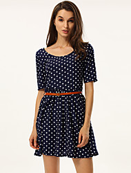 Women's  Vintage Sexy Casual Print Cute Above Knee ½ Length SleeveDress , Cotton