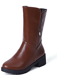 Women's Boots Spring / Fall / Winter Riding Boots / Fashion Boots Leather Dress / Casual Low Heel Zipper