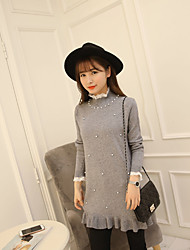 Women's Casual/Daily Simple Long Pullover,Print Black Gray Crew Neck Long Sleeve Cotton Spring Fall Medium Micro-elastic