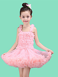 Ball Gown Short / Mini Flower Girl Dress - Tulle / Polyester Sleeveless Straps with Ruffles