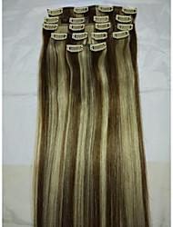 """20 """"grampo real no remy humano extensões de cabelo # 6/613 8pcs / 80g"""