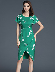 Women's Going out Vintage Sheath Dress,Floral Round Neck Asymmetrical Short Sleeve Green Polyester All Seasons