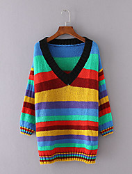 Women's Casual/Daily Simple Long PulloverRainbow Multi-color V Neck Long Sleeve Cotton Winter Thick Micro-elastic