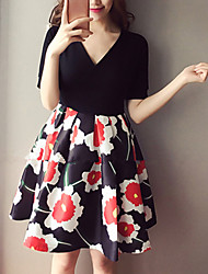 Women's Plus Size / Casual/Daily Simple Sheath Dress,Floral V Neck Above Knee Short Sleeve Black Polyester