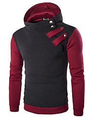 Men's Color Block Casual / Sport Hoodie & Sweatshirt,Cotton / Polyester Long Sleeve Black / Red / Gray