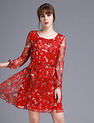 JOJ  Women's Going out Sexy / Cute Sheath Dress,Floral Round Neck Above Knee Long Sleeve Red Silk Spring