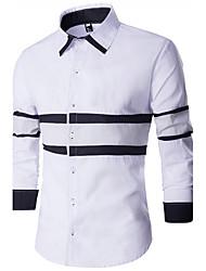 Men's Patchwork Casual / WorkCotton Long Sleeve Black / White