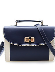 Women PU Casual  Office Vintage Color Stitching Twist Lock Tote Shoulder Bag