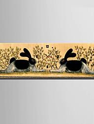 Modern/Zeitgenössisch Tiere Wanduhr,Rechteckig Leinwand 24 x 70cm(9inchx28inch)x1pcs/ 30 x 90cm(12inchx35inch)x1pcs Drinnen Uhr