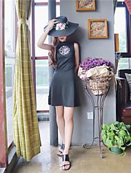 De las mujeres Vaina Vestido Formal / Fiesta/Cóctel Vintage,Un Color Escote Chino Sobre la rodilla Sin Mangas Negro Algodón Verano