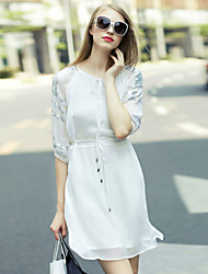 Women's Casual/Daily Simple Loose DressSolid Round Neck Above Knee Length Sleeve