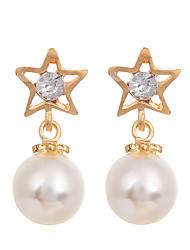 Korean Fashion Jewelry Women's Earrings Gold Plated Simple Pearl Stud Earrings Women Rhinestone Star Earring