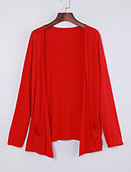 Women's Solid Blue / Pink / Red / Black / Gray Cardigan Long Sleeve