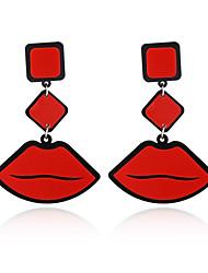 New Fashion Big Brand Classic Luxurious Elegant Sexy Women Red Lips Acrylic Drop Earrings For Women Girls Long Earring
