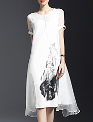 Women's Going out Vintage Loose Dress,Floral Round Neck Knee-length Sleeveless White Rayon Spring / Summer