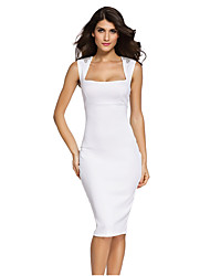 Women's Club Sexy Bodycon Dress,Solid Square Neck Knee-length Sleeveless Red / White / Black Polyester / Spandex Summer