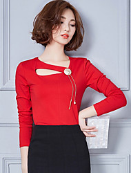 Women's Casual/Daily Sexy Fall Blouse,Solid Round Neck Long Sleeve Red / White / Black Cotton Medium