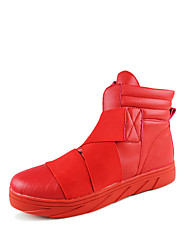 Men's Boots Spring / Fall Comfort PU Casual Flat Heel Others Black / Red / White Walking
