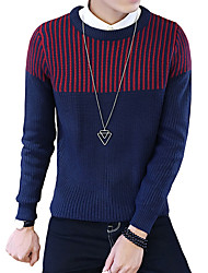 Men's Korean Slim Striped Knit Pullovers,Wool / Cotton Long Sleeve Blue / Gray