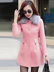 Manteau Femme,Mosaïque Sortie simple Manches Longues Col de Chemise Rose Rouge Orange Cachemire Polyester Moyen Automne Hiver