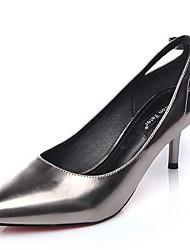 Черный / Серебристый-Женский-Для офиса / На каждый день-Лакированная кожа-На шпильке-На каблуках-Обувь на каблуках