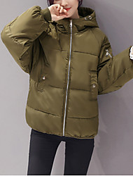 Women's Solid Pink / White / Black / Gray / Green Padded Coat,Street chic Hooded Long Sleeve