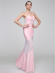 TS Couture® Formal Evening Dress Trumpet / Mermaid Spaghetti Straps Floor-length Tulle / Sequined with Sequins