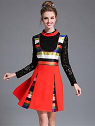 Feminino Evasê / Bainha Vestido,Casual / Tamanhos Grandes Vintage / Moda de Rua Color Block / Patchwork Colarinho ChinêsAltura dos