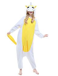 kigurumi Pyjamas New Cosplay® / Unicorn Collant/Combinaison Fête / Célébration Pyjamas Animale Halloween Jaune Couleur Pleine Polaire