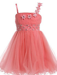 Ball Gown Knee-length Flower Girl Dress - Tulle Sleeveless Spaghetti Straps with Beading / Flower(s)