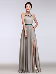 Formal Evening Dress A-line Halter Floor-length Chiffon with Ruffles / Criss Cross