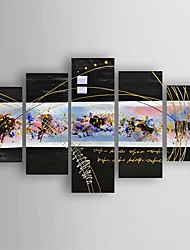 Pintados à mão Abstracto Pinturas a óleo,Modern 5 Painéis Tela Hang-painted pintura a óleo For Decoração para casa