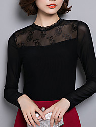 Damen Patchwork Einfach Ausgehen / Lässig/Alltäglich / Übergröße T-shirt,Rollkragen Herbst Langarm Schwarz Nylon Dünn