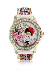 Women/Lady's Cute Special Beautiful Girl Case Acrylic Beads Leather Band Fashion Watch Strap Watch