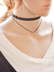Женский Ожерелья-бархатки Ожерелья с подвесками Слоистые ожерелья Татуировка Choker Геометрической формы Ткань Сплав Тату-дизайн Мода