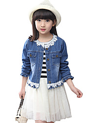 Girl's Cotton Spring/Autumn Casual Cowboy Jacket Denim Coat And Stripes Long Sleeve Lace Skirt Two-piece Set
