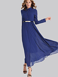 Women's Casual/Daily Simple Swing Dress,Solid Shirt Collar Maxi Long Sleeve Blue Polyester Fall / Winter