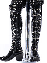 Men's Boots Spring/Fall/Winter Motorcycle Boots Patent Leather Party & Evening / Casual Chunky Heel Chain Black