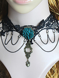Fashion Black Lace Green Flower Chocker Necklace Heart Pendant Tassel Short Necklace Women Jewelry Girls Gift