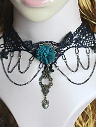 Fashion Black Lace Green Flower Chocker Necklace Heart Pendant Tassel Short Necklace Women Jewelry Girls Gift